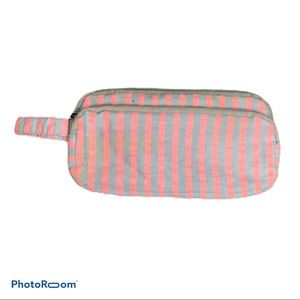 5/$20 Gray Pink stripped pencil pouch